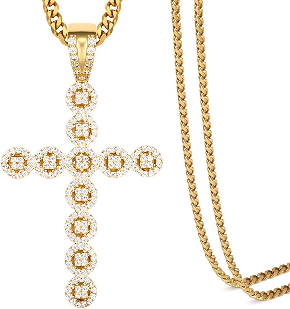 TUHE Hip Hop Cross Max 85% OFF Pendant Chain for National uniform free shipping 18K Necklace Women Men Gol