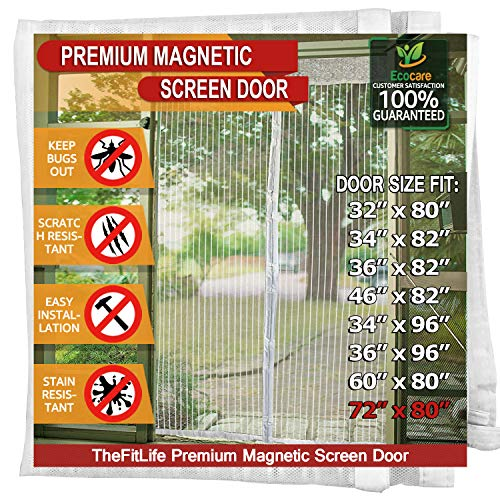 TheFitLife Magnetic Screen Door - Heavy Duty Mesh Curtain with Full Frame Hook and Loop Powerful Magnets That Snap Shut Automatically - (White 74''x81'' - Fits Doors up to 72''x80'' Max)