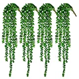 CEWOR 4pcs Artificial Succulents Hanging Plants Fake String of Pearls (23.62 Inches Each Length)