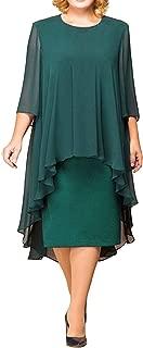Ruffles Mid-Calf Dresses Chiffon Splice O Neck 3/4 Sleeve Party Dresses Plus Size Vestidos