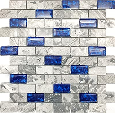 """Hominter 11-Sheets Navy Blue Glass Mosaic Tile Rectangle, Gray Natural Marble 1"""" x 2"""" Subway Mini Brick, Wall and Floor Tiles in Bathroom and Kitchen Backsplash NB03"""