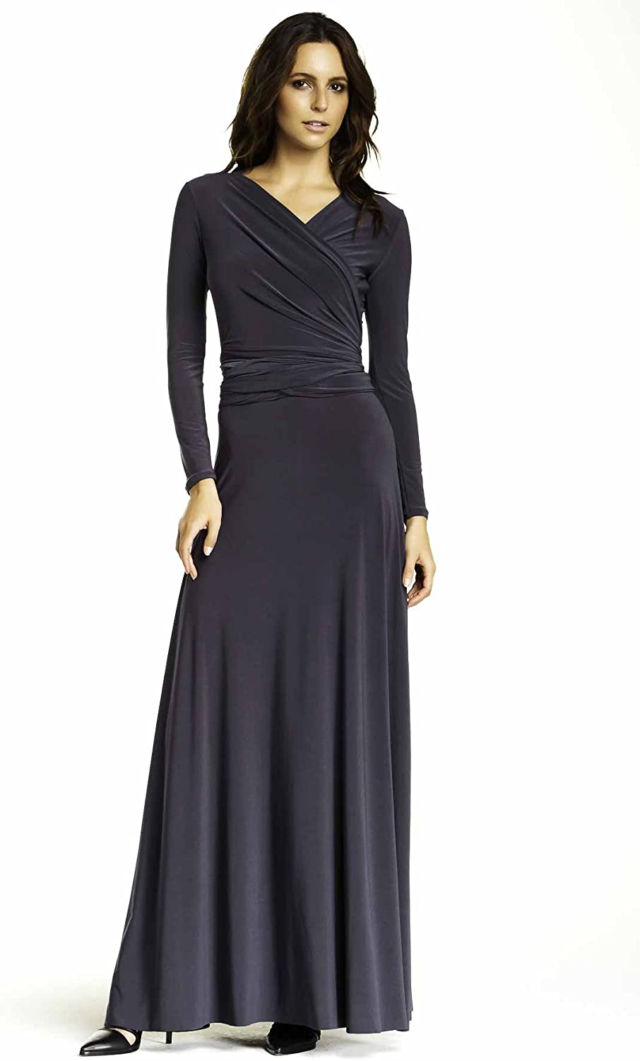 VON RONEN Women's Long Sleeve Convertible Front-to-Back Maxi Dress Cocktail Gown