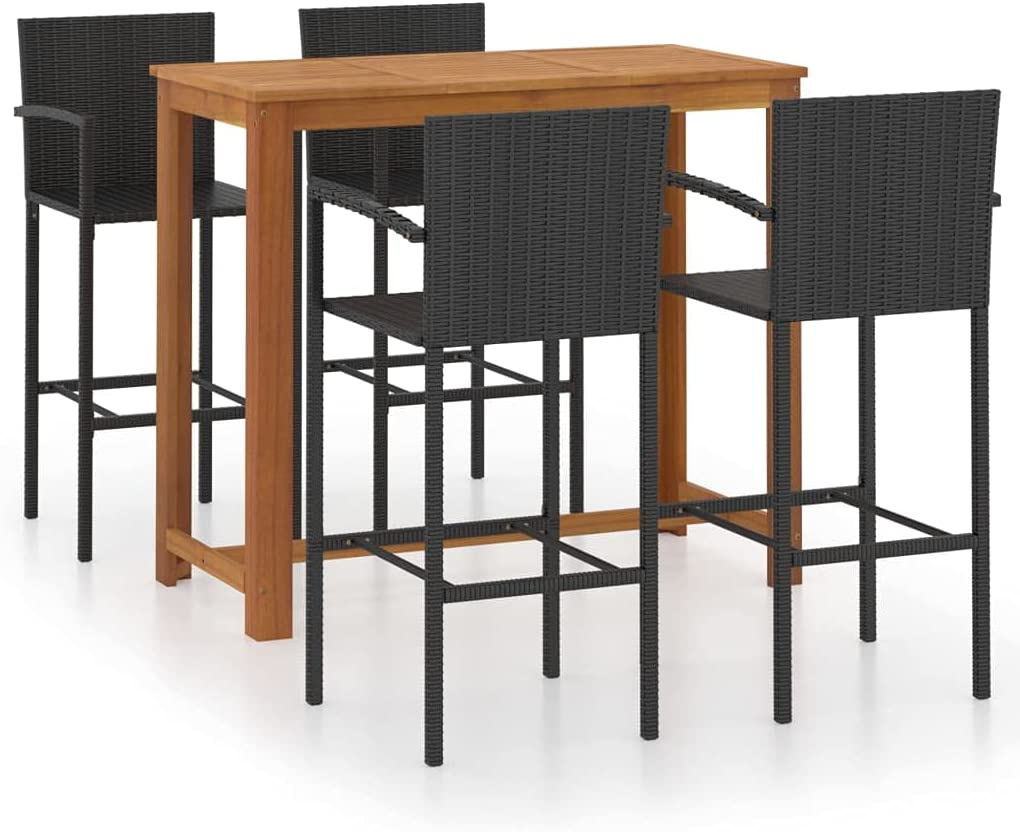 Unfade Memory 5 Pcs Max 74% online shopping OFF Patio Bar Table Set and Rectangle with Armre