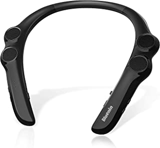 ネックスピーカー Bluetooth首掛けスピーカー Bluetooth5.0/CVC8.0ノイズキャンセリング/4つのスピーカー内蔵/IPX4防水/Apt-X テレビ/映画/ゲーム用 85g超軽量 15時間連続再生 肩掛けスピーカー(チタンブラック)