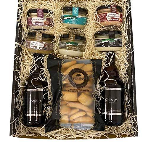 Lote para regalo con cervezas artesanas Cerex Pilsen cremas de patés ibéritos cremas de queso deliex y picos de pan deliex idela para regalar en cumpleaños o por agradecimiento