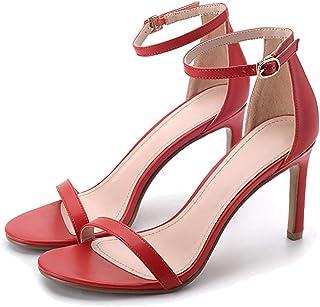 0cdb9c5a4e5c Jiu du Womens Heeled Sandals Ankle Strap High Heels 9CM Open Toe Heel Dress  Shoes Black