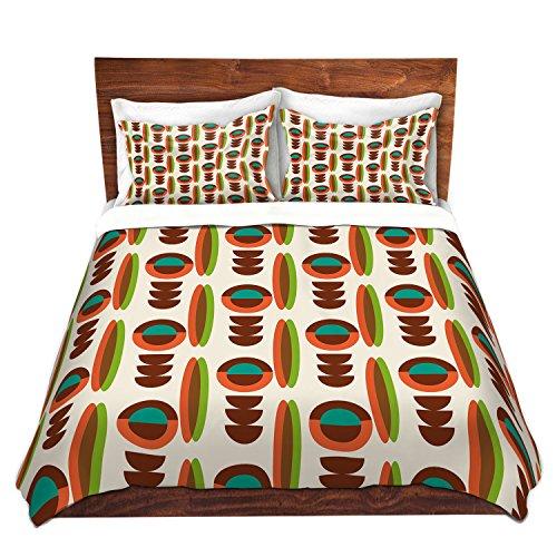 DiaNoche Designs Mid Century Modern Orange Cover Brushed Twill Queen, King, 6 Twin Duvet Sham Set