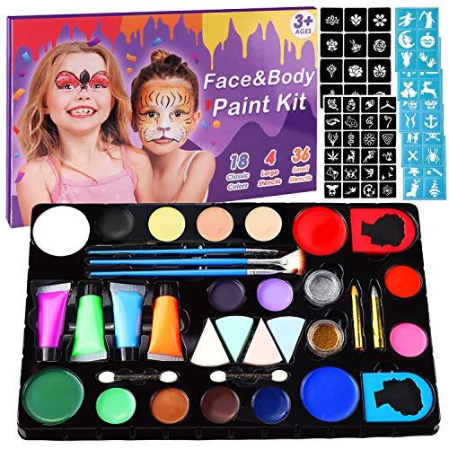 Minterest Halloween Maquillaje Pinturas para Niños, 14 Colores, Profesional, Seguro, No Tóxico, Lavable, Pintura Facial Corporal con 30 Plantillas, 36 Tatuajes, 2 Brillos para Niños, Adultos
