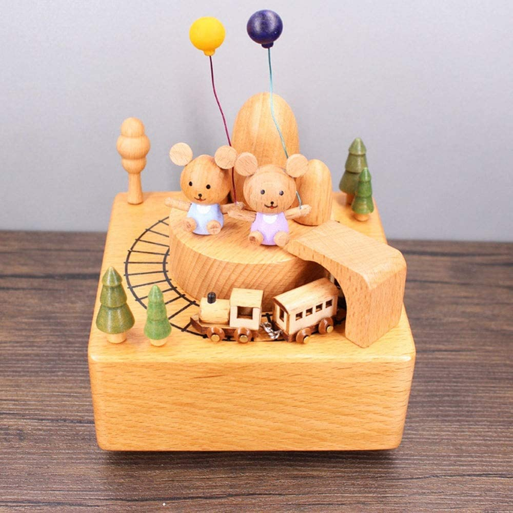 ZXY-NAN Nordic Wood Color Balloon Two Tunnel Train New products, world's highest quality popular! Rot Cubs Arlington Mall