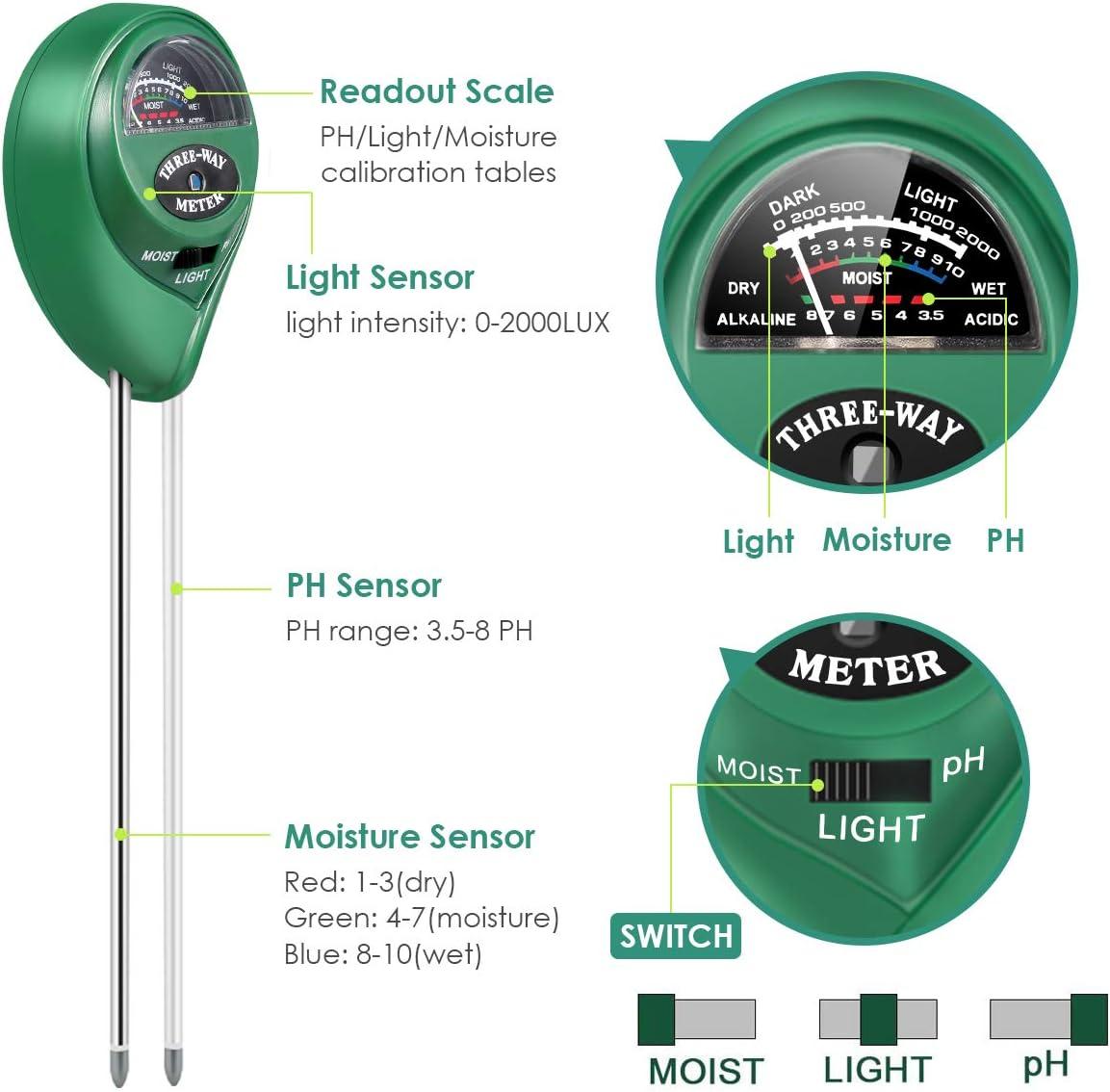 KodaQo Green Soil Test Kit 3-in-1 Soil Tester with Moisture Light and PH Test Double Needle Design Soil PH Meter for Home//Garden//Farm//Lawn//Indoor /& Outdoor