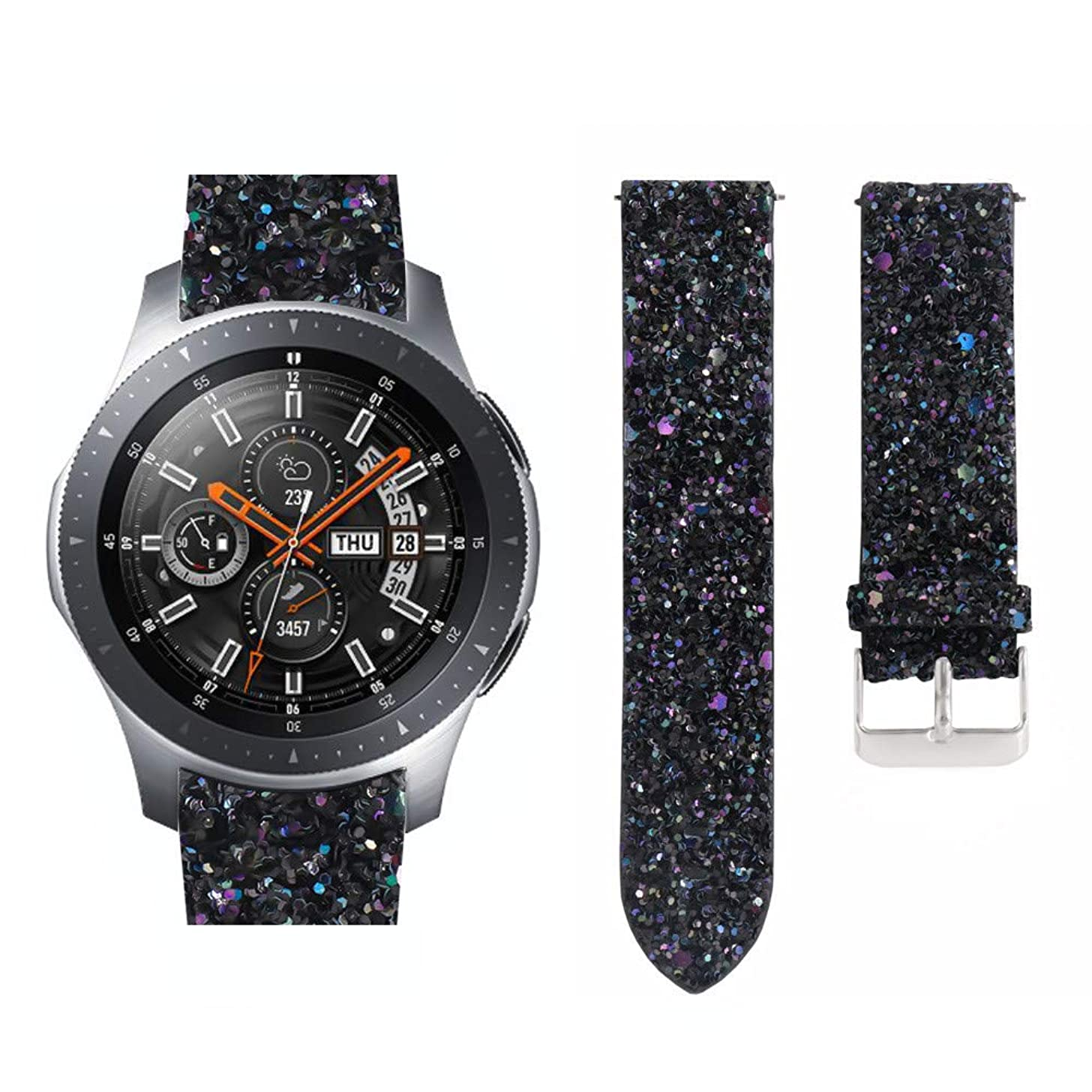 Ikevan 1 x Watch Band Bling Shiny Luxury Leather Replacement Watch Band Bracelet Strap for Samsung Galaxy Watch (42mm Black)