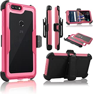 For ZTE BLADE Z MAX/ZMAX PRO 2/SEQUOIA(Z982) Full Body Rugged Holster Explorer Armor Case with Built in Screen Protector [Belt Swivel Clip & Kickstand] (Pink)