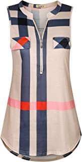 Cyanstyle Women's V Neck Zip Up Casual Tank Top Flaps at Chest Sleeveless Tunic