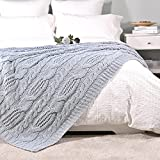 Amélie Home Cable Knit Decorative Blue Throw Blankets for Couch, Soft Cozy and Lightweight, 50'' x 60''