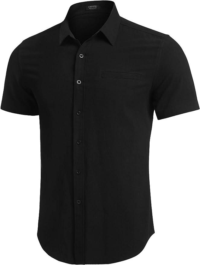 COOFANDY Camisa de lino para hombre, manga corta, corte regular, de verano, mezcla de algodón, ligera, para ocio, monocolor, no necesita planchado