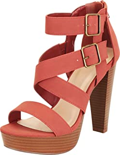 Cambridge Select Women's Open Toe Crisscross Strappy Chunky Platform Extra High Heel Sandal