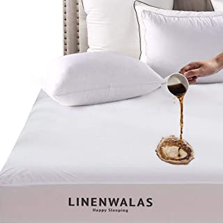 LINENWALAS Premium Super Soft - 100% Waterproof |Fitted Bamboo Mattress Cover (Queen,White)