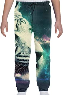 Youth Sweatpants White Tiger Boys and Girls Soft and Cozy 3D Casual Active Sports Trousers