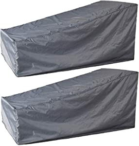 boyspringg Patio Chaise Lounge Chair Cover Waterproof Outdoor Chaise Covers Sun Lounge Cover Lightweight for Garden Yard Furniture Grey (2 Pack, Grey)