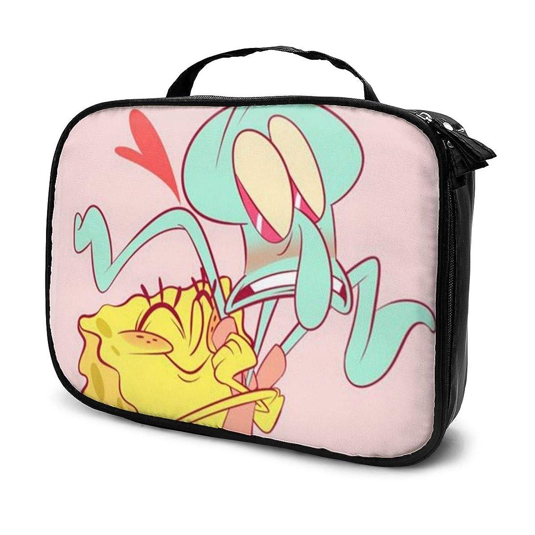 接続されたギャラントリー反対したDaituスポンジボブイカ病触手 化粧品袋の女性旅行バッグ収納大容量防水アクセサリー旅行