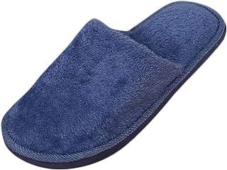 OHQ Zapatillas De Felpa Hombres Calentar Casa Suaves Interior Antideslizantes Zapatos De Dormitorio con Piso De Invierno S...