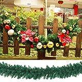 Weihnachtskranz mit LED Lichterkette Beleuchtung 270cm Weihnachtsgirlande künstlich Weihnachten Girlande Weihnachtsdeko Weihnachten, Türkranz Innen und Außen (rot) - 6