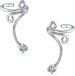Swirl Scroll CZ Cartilage Ear Cuffs Clip Wrap Wire Earrings Helix For Women For Men Non Pierced Ear 925 Sterling Silver