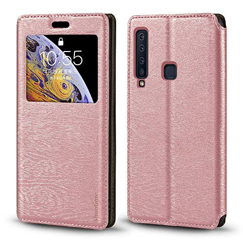 Capa para Samsung Galaxy A9 2018, luxuosa capa de couro de grão de madeira com compartimento para cartão de notificação, janela protetora magnética flip para Samsung Galaxy A9S (ouro rosa)