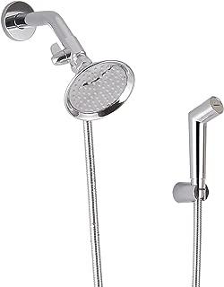 SUMERAIN Pet Shower Sprayer, Dog Shower Attachment with Solid Brass Shower Arm Diverter and Flow regulating Sprayer, Chrome Finish