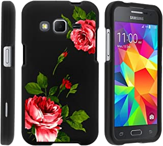 MINITURTLE Compatible with Samsung Galaxy Core Prime case, Prevail LTE Cover [Snap Shell] 2 Piece Hard Plastic Case Affectionate Flowers
