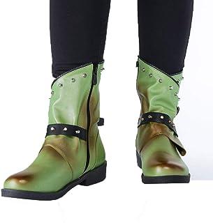Dainzuy Womens Ankle Buckle Booties Wrap Straps Chunky Block Motorcycle Boots Side Zipper Low Heel Western Boots