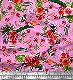 Soimoi Rosa Samt Stoff Tropische Blätter, Blumen &
