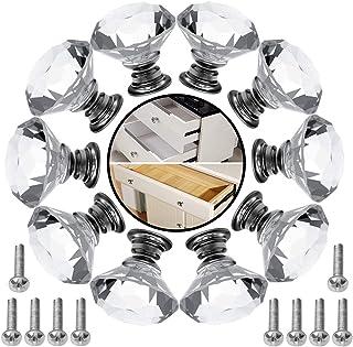 armario 8 pomos de cristal acr/ílico LS 40 mm para puerta de cocina con tornillo para decoraci/ón del hogar caj/ón