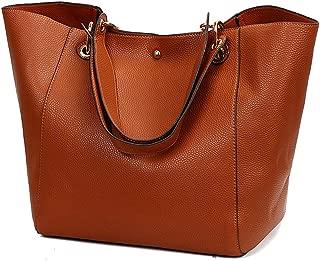 Pahajim fashion Women PU Leather Bucket Bag business Purses Tote Top Handle Satchel Shoulder with Zipper for Ladies
