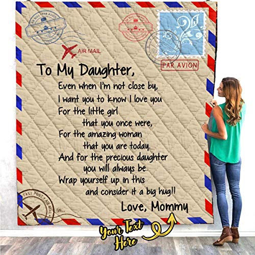 VTH GLOBAL Personalized Custom Dad Mom Name to My Daughter Letter Fleece Throw Quilt Blanket Twin Queen Size Tapestry Wall Hanging