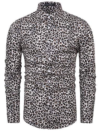fohemr Camisa de Manga Larga para Hombre Estampado Floral Casual con Botones Camisa Retro Flores Estilo 100% algodón Estampado de Leopardo Small