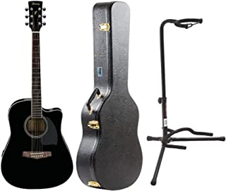 Ibanez PF15ECE PF Dreadnought Acoustic-Electric Cutaway Guitar with Knox Protective Case and Guitar Stand Bundle