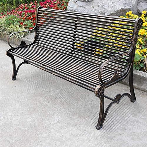 Gartenmöbel Terrasse Garten Veranda Bank, Innenhof Metallguss Aluminium Parkbank mit Rückenlehne und Handläufen, Verwendet für Hinterhof und Rasen Ruhesitze für 2-3 Personen