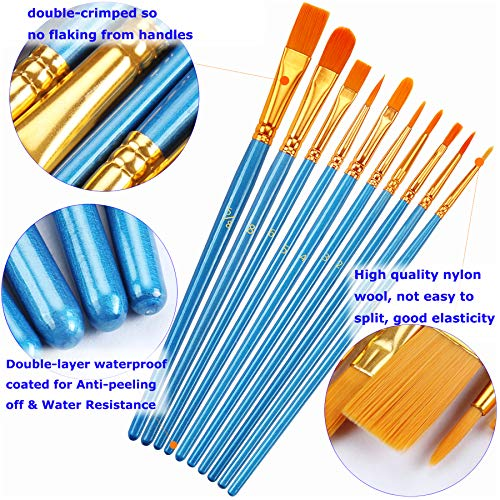 Paint Brushes Set, 2Pack 20 Pcs Paint Brushes for Acrylic Painting, Oil Watercolor Acrylic Paint Brush, Artist Paintbrushes for Body Face Rock Canvas, Kids Adult Drawing Arts Crafts Supplies, Blue