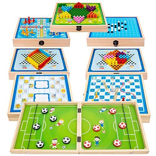 GoHist Fast Sling Puck, Schulspiel Brettspiel 8-in-1-Combo-Brettspielset Hockey Tragbares Eisball-Kampfspiel Eltern-Kind Interaktives Spiel Stoßstange Schach Desktop-Spiel für Kinder, Erwachsene