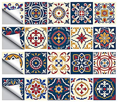 GLOBALDREAM Pegatinas de Baldosas, 20cm Cenefa Adhesiva Cocina Azulejos Adhesivos Pegatinas Mosaico Pegatinas de Baldosas de Azulejos para Baño y Cocina (4 Piezas 100cm x 20cm)