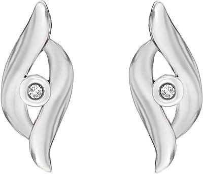 Tuscany Silver Orecchini a Lobo da Donna in Argento Sterling 925, con Diamante, 0.05 ct