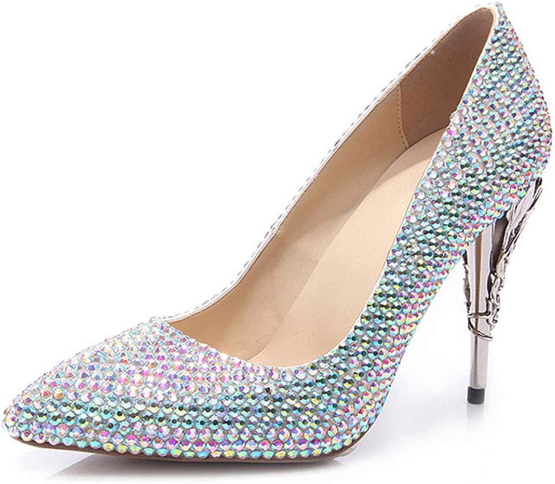 Charmstep Frauen Spitz Zehen High High Heel Pumps Handgemachte Strass Abend Hochzeit Kleid Schuhe  niedriger Preis