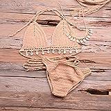 Vibner Bikini Traje de baño 3Pcs Bikini Set Mujer Crochet Shell Tassel Bikini Top Y Seashell Tobillo Cadena Sexy Tanga Hollow-out Bikini De Cintura Baja L Caqui