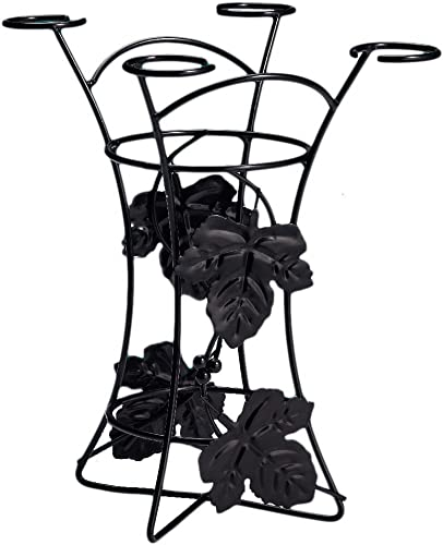 2021 EdgeHome by Twain wholesale & Moss Decorative Party Wine 2021 Rack Wine Bottle and Glass Holder, Black, outlet sale