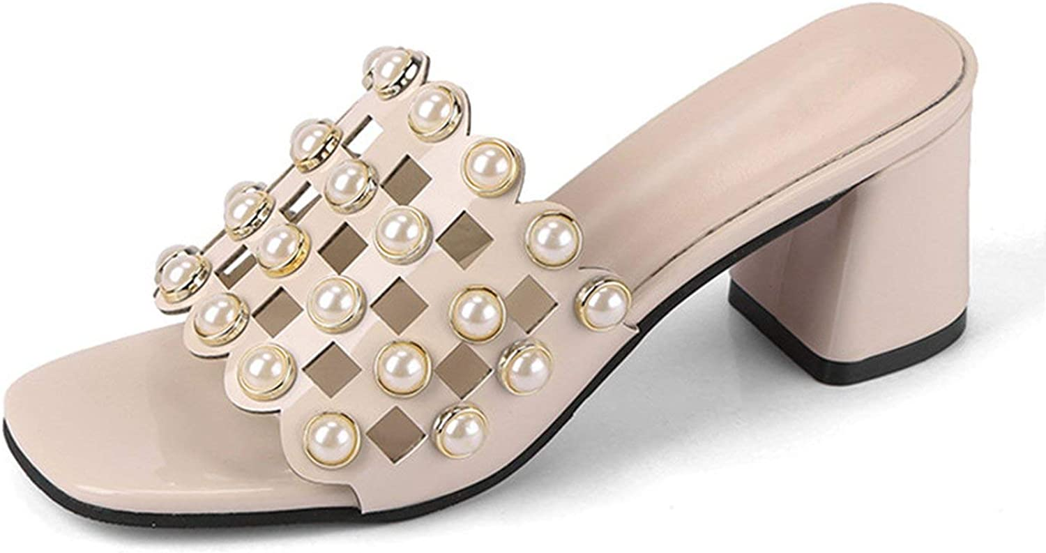 ALWAYS ME Summer Women Sandals Pearls Beading Dress shoes Elegant Thick High Heels Cut Out Party Slipper Pumps