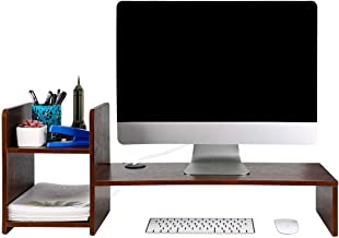 PAG Desktop Bookshelf Monitor Printer Stand Computer Riser Wood Desk Organizer for Home/Office/School, Retro Brown