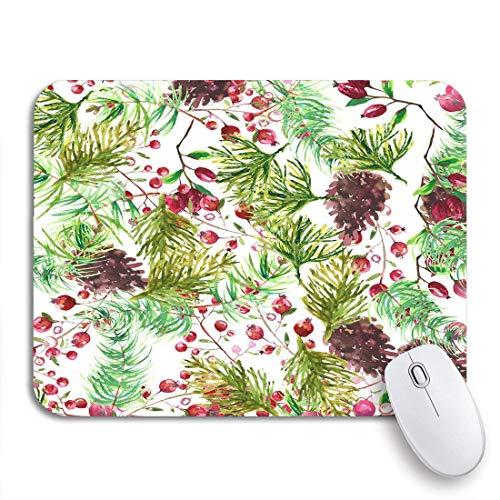 Gaming mouse pad grün abstraktes botanisches aquarellmuster für weihnachten rote blüte botanik rutschfeste gummiunterlage computer-mauspad für notizbücher mausmatten