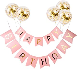 Pink Happy Birthday Banner and 5 Pieces Glod Confetti Balloons for Birthday Party Decoration Party Flag Bunting Supplies (Pink)