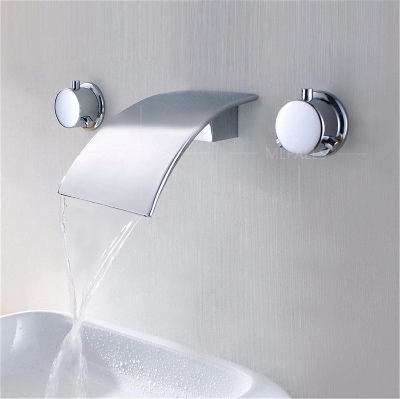 Bijjaladeva Wasserhahn Bad Wasserfall Mischbatterie Waschbeckenin die Wand Chrom Wasserfall Wasser Kalt Wasser Keramik Ventil Einloch Single Bad Waschtisch Armatur mit Griff